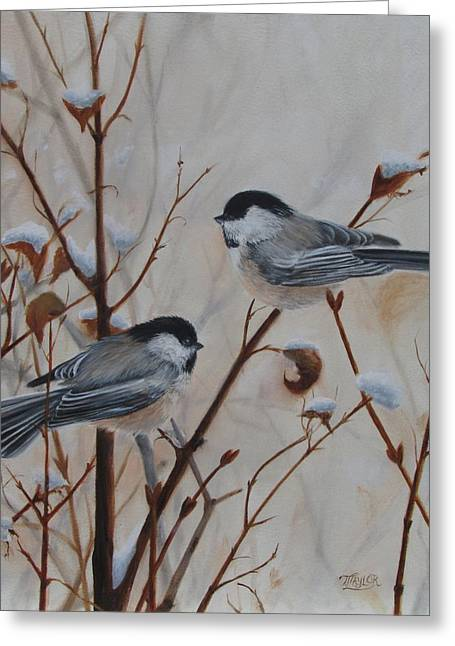 Birds In Winters Greeting Cards - Chickadees Greeting Card by Tammy  Taylor