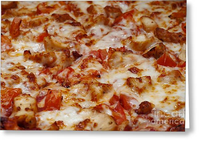 Italian Restaurant Greeting Cards - Chicken And Diced Tomato Pizza 1 Greeting Card by Andee Design
