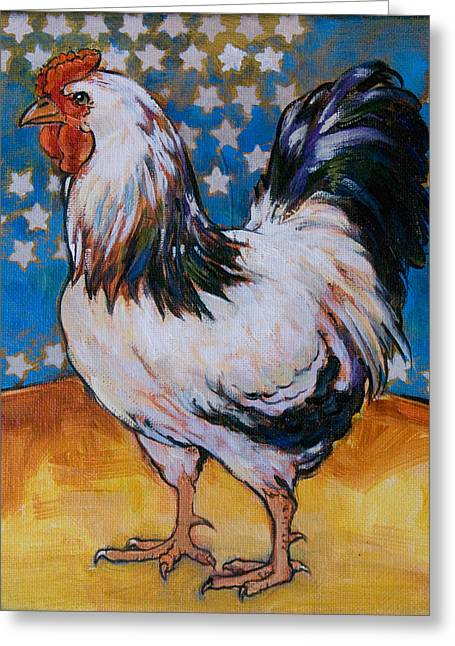 White Chicken Greeting Cards - Chicken and Stars Greeting Card by Tracie Thompson