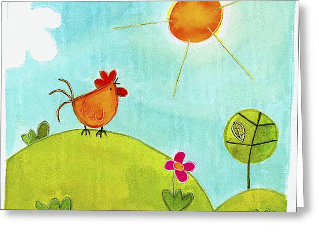 Chicken And Sun Greeting Card by Esteban Studio