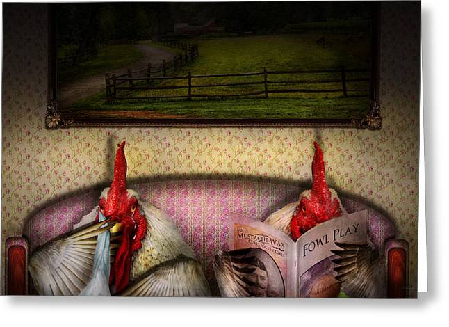 Chicken - Chick flick Greeting Card by Mike Savad