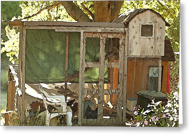 Fluffy Chickens Greeting Cards - Chicken Coop on the Farm Greeting Card by Artist and Photographer Laura Wrede