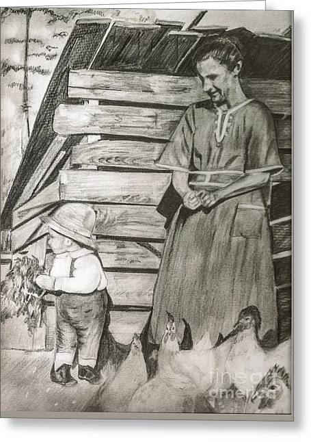 Chicken Coop - Woman And Son - Feeding Chickens Greeting Card by Jan Dappen
