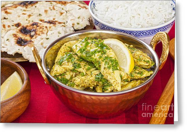 Curry Greeting Cards - Chicken Curry with Rice and Naan Greeting Card by Colin and Linda McKie