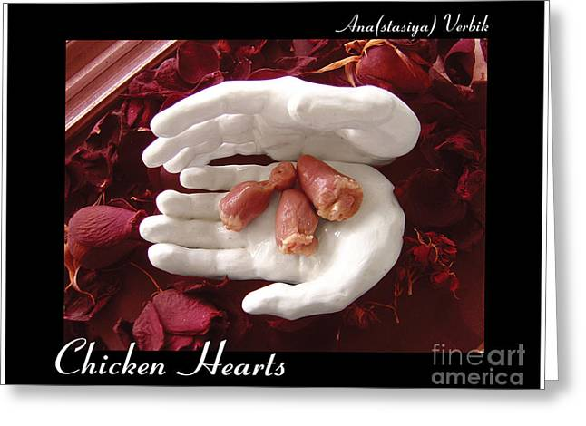 Stoneware Sculptures Greeting Cards - Chicken Hearts Greeting Card by Anastasiya Verbik