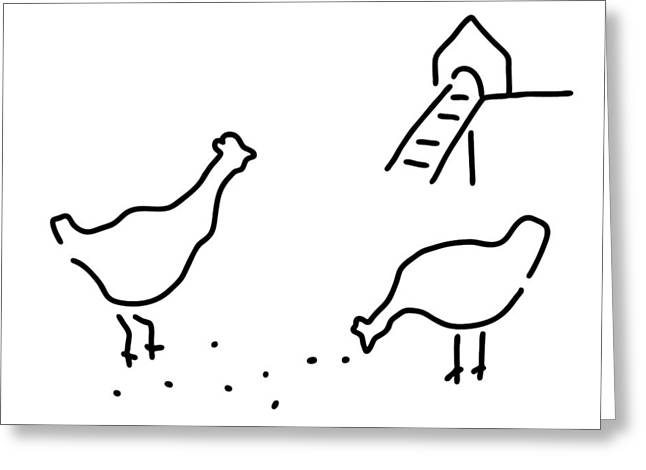 Pecking Drawings Greeting Cards - Chicken Hen Chickens Hof Greeting Card by Lineamentum