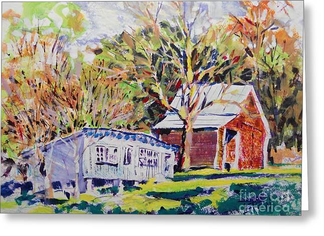 Shed Drawings Greeting Cards - Chicken House and Wagon Shed Greeting Card by Larry Lerew