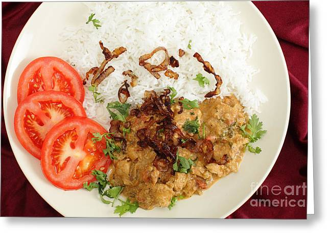 Basmati Greeting Cards - Chicken korma from above Greeting Card by Paul Cowan