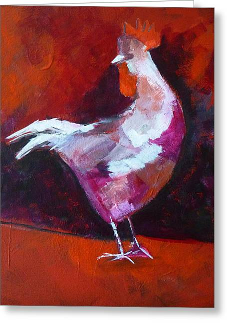 White Chicken Greeting Cards - Chicken Light Greeting Card by Nancy Merkle
