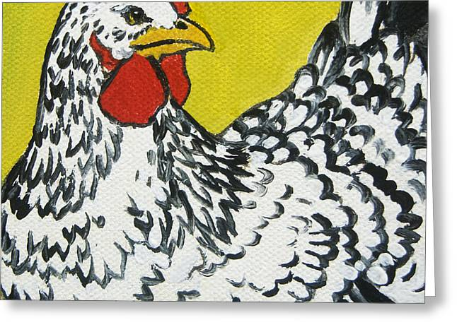 White Chicken Greeting Cards - Chicken Little 1 Greeting Card by Tracie Thompson
