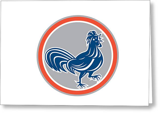 Legs Up Greeting Cards - Chicken Rooster Walking Circle Retro Greeting Card by Aloysius Patrimonio
