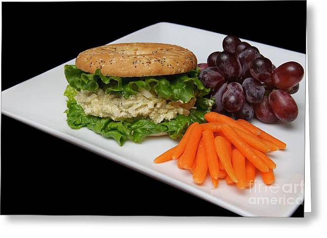 Deli Greeting Cards - Chicken Salad Sandwich - Red Grapes - Baby Carrots - Deli Greeting Card by Andee Design