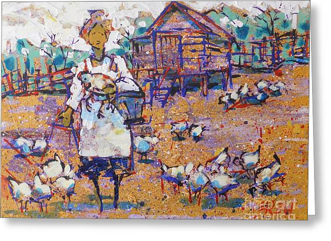 Barn Yard Drawings Greeting Cards - Chicken Scratch Greeting Card by Larry Lerew