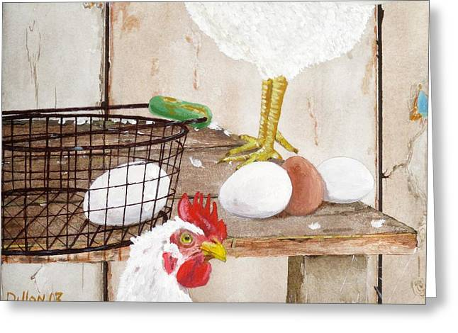 Barn Yard Greeting Cards - Chicken Shift Greeting Card by Michael Dillon