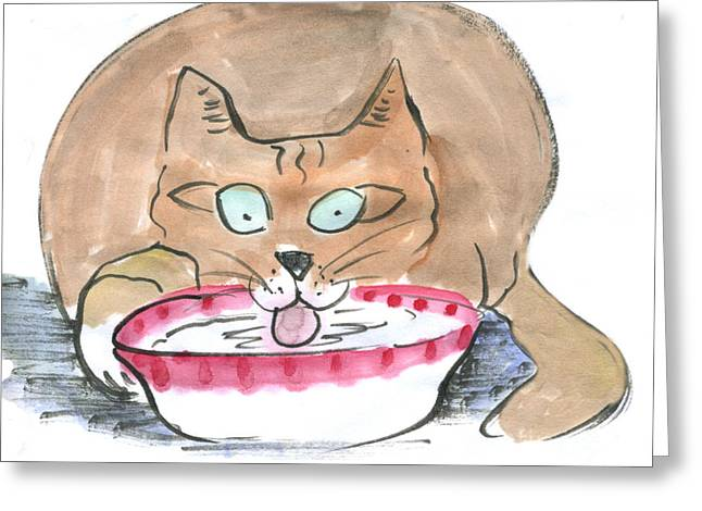 Pictures Of Cats Paintings Greeting Cards - Chicken Soup Unattended Greeting Card by Ellen Miffitt