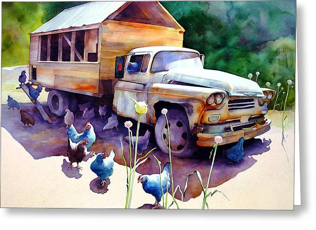 Chicken Truck Greeting Card by Dianne Bersea