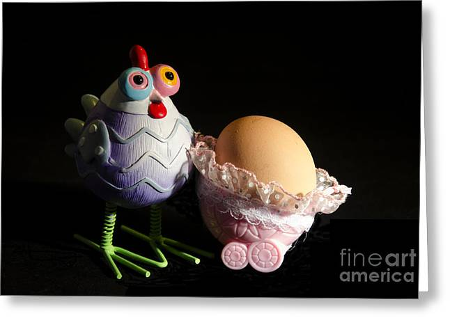 Menu Greeting Cards - Chicken with her baby egg Greeting Card by Victoria Herrera