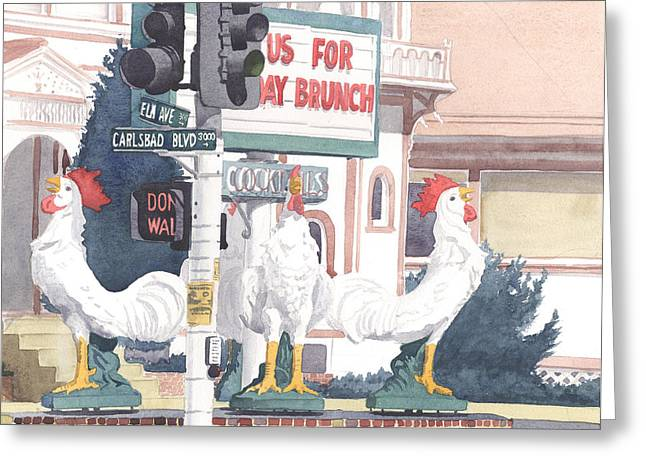 Historic Landmarks Greeting Cards - Chickens at Twin Inns Carlsbad Greeting Card by Mary Helmreich
