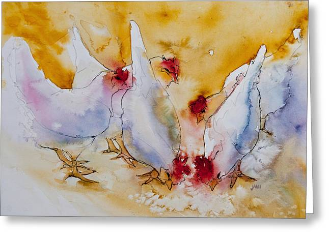 Shades Of Red Greeting Cards - Chickens Feed Greeting Card by Jani Freimann