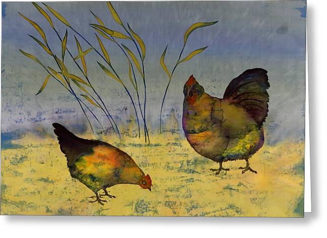 Blue Tapestries - Textiles Greeting Cards - Chickens On Silk Greeting Card by Carolyn Doe