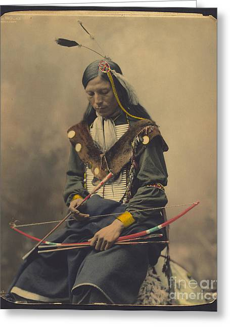 Oglala Greeting Cards - Chief Bone Necklace an Oglala Lakota Greeting Card by Celestial Images