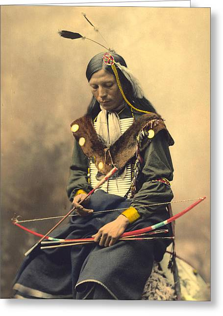 Oglala Greeting Cards - Chief Bone Necklace Oglala Lakota Greeting Card by Heyn Photo