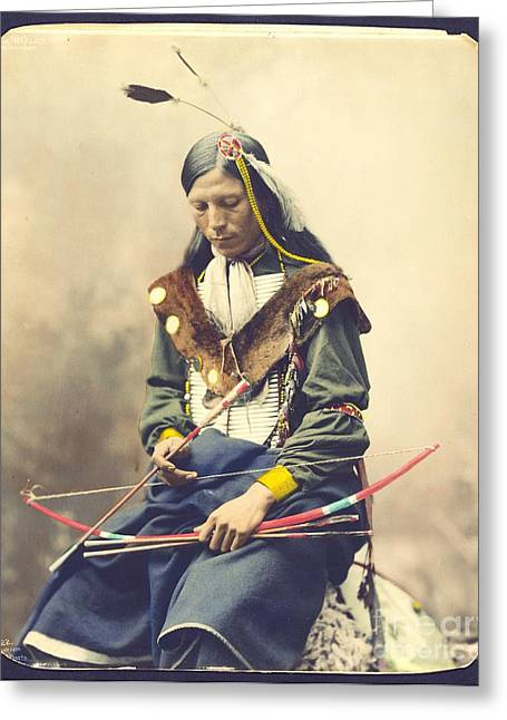 Lakota Greeting Cards - Chief Bone Necklace - Sinte Greeting Card by Pg Reproductions