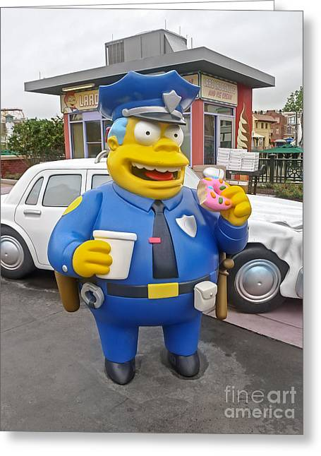 Police Cartoon Greeting Cards - Chief Clancy Wiggum from The Simpsons Greeting Card by Edward Fielding