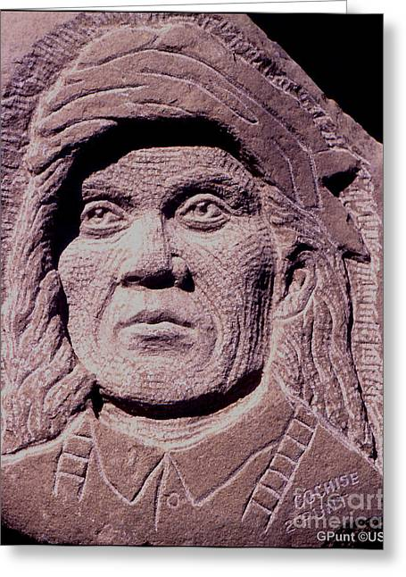Iron Sculptures Greeting Cards - Chief-Cochise-2 Greeting Card by Gordon Punt