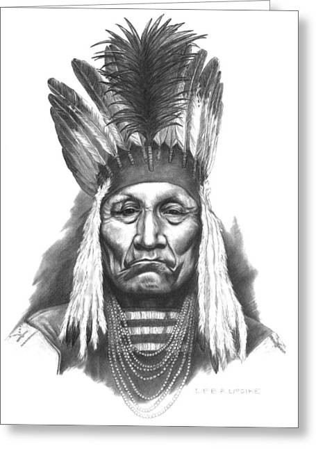 Indian Drawings Greeting Cards - Chief Curly Bear Greeting Card by Lee Updike