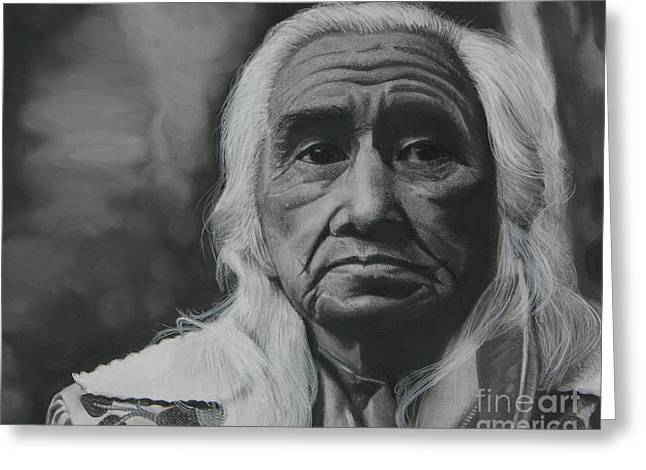 Portraitist Greeting Cards - Chief Dan George Greeting Card by Riane Cook