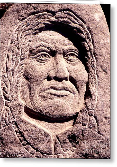 Lone Sculptures Greeting Cards - Chief-Gall Greeting Card by Gordon Punt