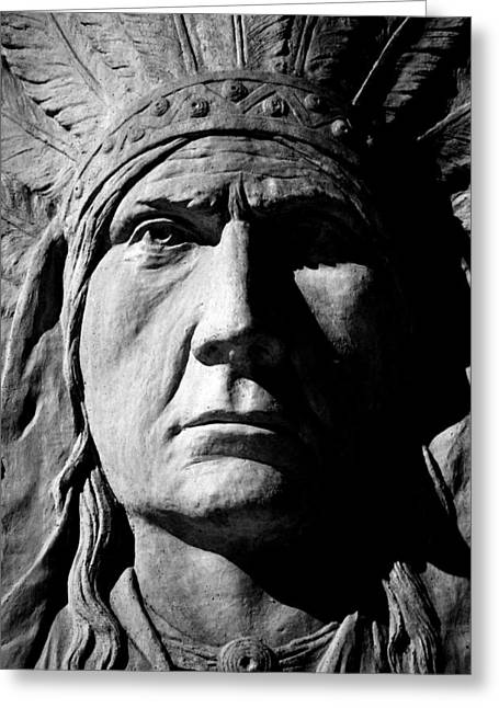 Statue Portrait Photographs Greeting Cards - Chief Greystone  Greeting Card by Jerry Cordeiro