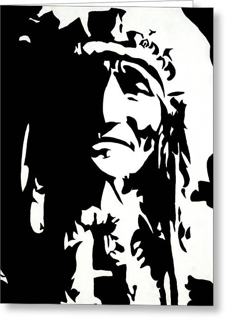 Native American Spirit Portrait Paintings Greeting Cards - Chief Half In Darkness Greeting Card by HJHunt