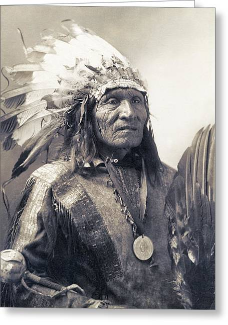 Indian Warriors Photographs Greeting Cards - CHIEF HE DOG of the SIOUX NATION  c. 1900 Greeting Card by Daniel Hagerman