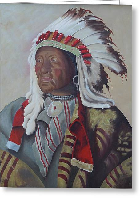 Chief Iron Tail Greeting Cards - Chief Iron Tail Greeting Card by Kathy Przepadlo