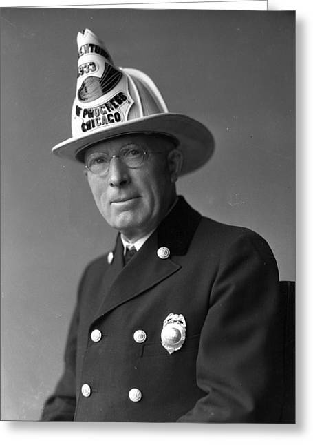 Policemen Greeting Cards - Chief John C. McDonnell Century of Progress Fireman Greeting Card by Retro Images Archive