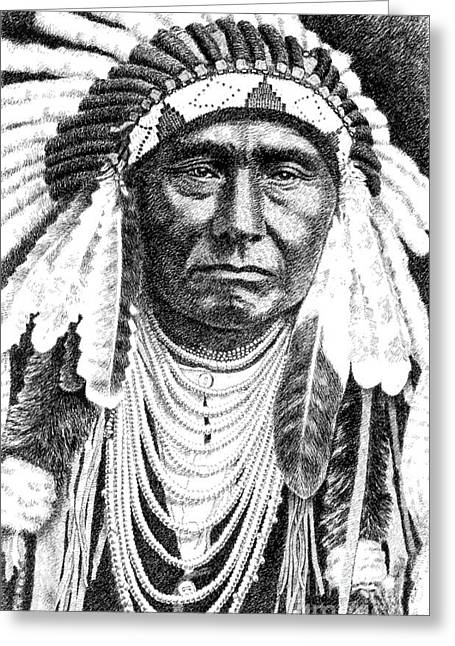 Pen And Ink Drawings For Sale Drawings Greeting Cards - Chief-Joseph Greeting Card by Gordon Punt