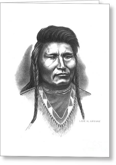 Aboriginal Art Drawings Drawings Greeting Cards - Chief Joseph Greeting Card by Lee Updike