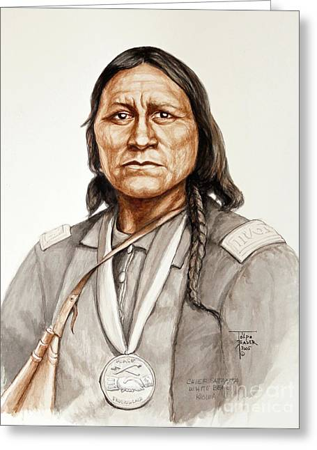 Orator Paintings Greeting Cards - Chief Satanta Greeting Card by Art By - Ti   Tolpo Bader
