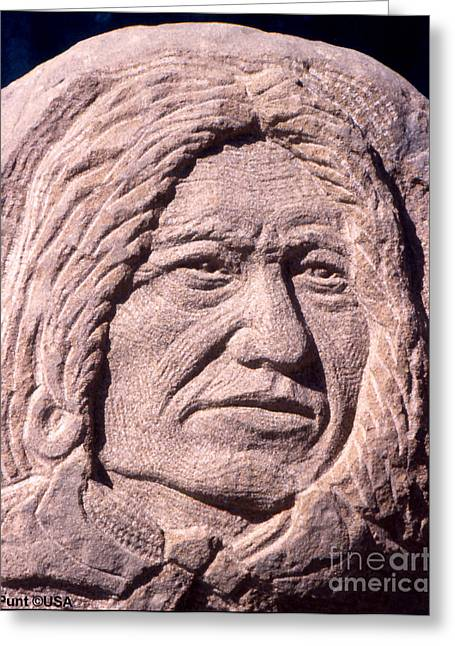Iron Sculptures Greeting Cards - Chief-Spotted-Tail Greeting Card by Gordon Punt