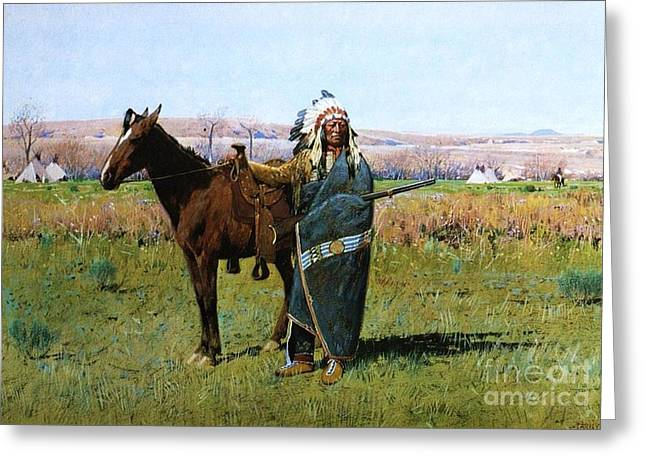Chief Spotted Tail Greeting Card by Pg Reproductions