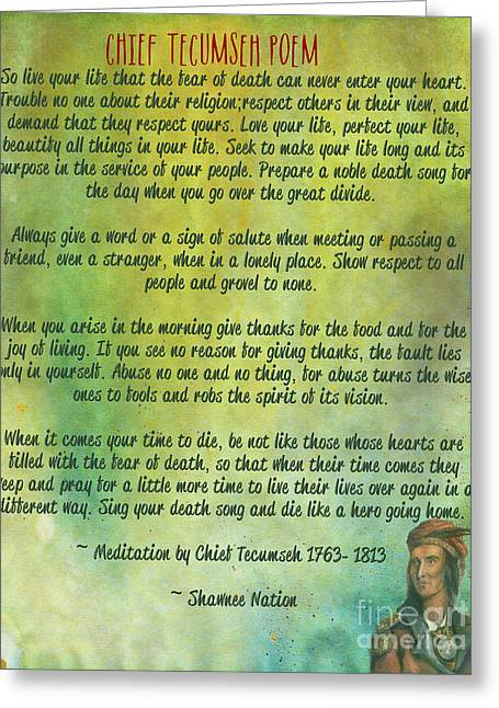 National Mixed Media Greeting Cards - Chief Tecumseh Poem - Live Your Life Greeting Card by Celestial Images