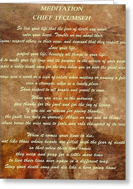 Bravery Mixed Media Greeting Cards - Chief Tecumseh Poem Greeting Card by Dan Sproul