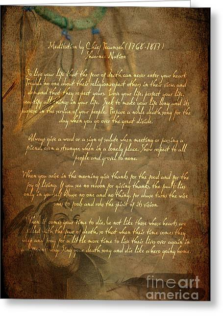 Indian Chief Greeting Cards - Chief Tecumseh Poem Greeting Card by Wayne Moran