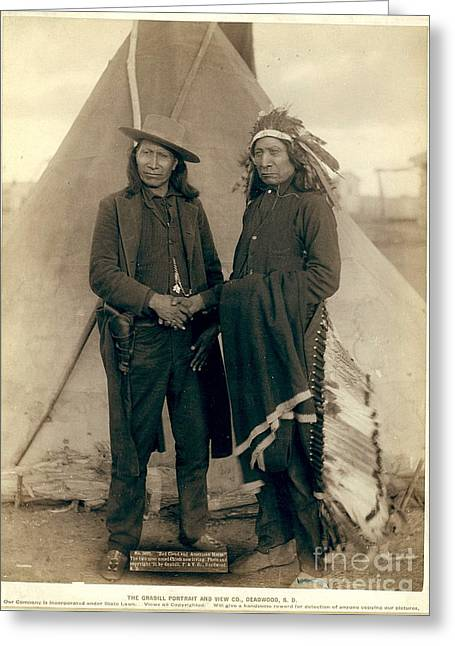 Chief Red Cloud Greeting Cards - Chiefs American Horse and Red Cloud Greeting Card by Celestial Images