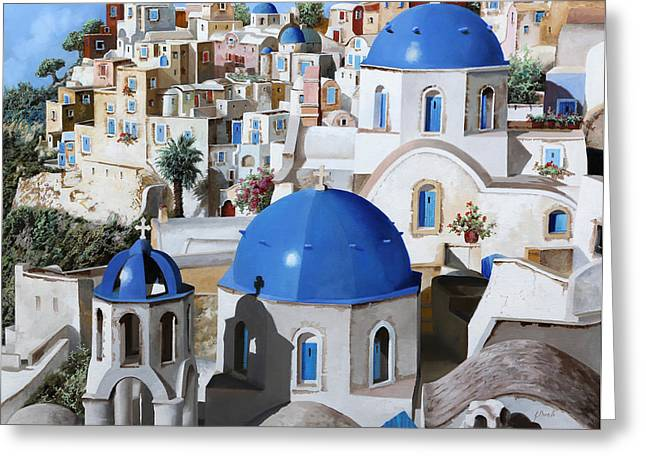 Santorini Greeting Cards - Chiese Ortodosse Greeting Card by Guido Borelli