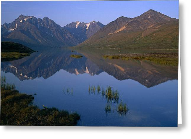 Peaceful Scenery Greeting Cards - Chigmit Mtns Reflecting In Turquoise Greeting Card by Chlaus Lotscher