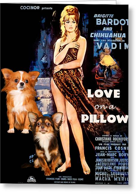 Lovers Art On Print Greeting Cards - Chihuahua Art - Love on a Pillow Movie Poster Greeting Card by Sandra Sij