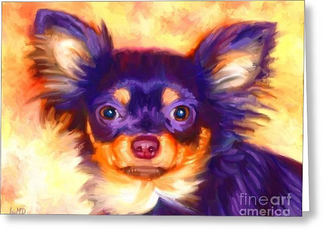 Chihuahua Colorful Art Greeting Cards - Chihuahua Art Greeting Card by Iain McDonald